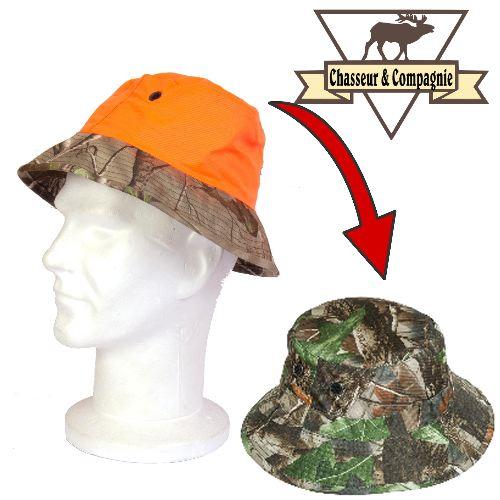 Bob de chasse re versible camouflage et orange chasseur et compagnie