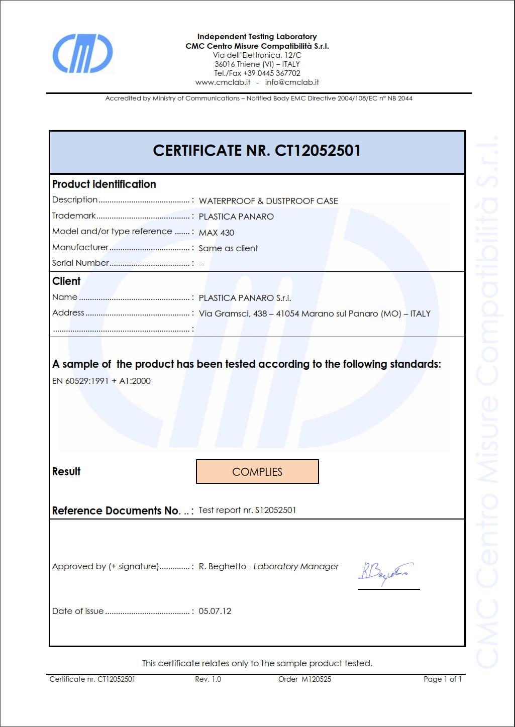 Certificat mallette waterproof ip67 transport arme de poing