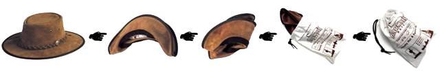 Chapeau en cuir pliable