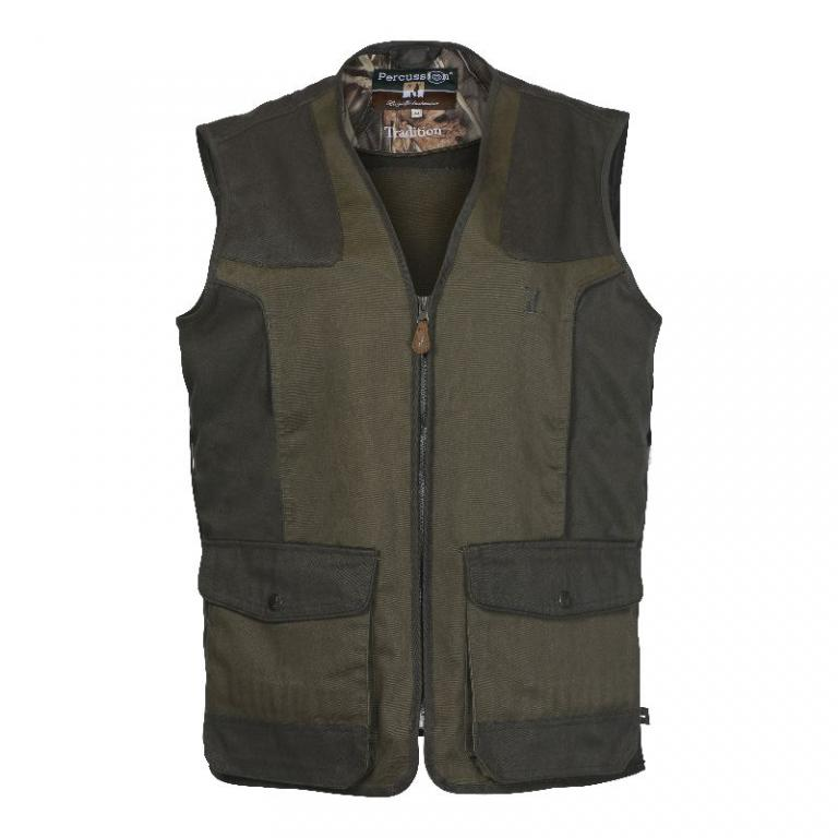 Gilet chasse enfant percussion tradition kaki 4 6 8 10 12 ans