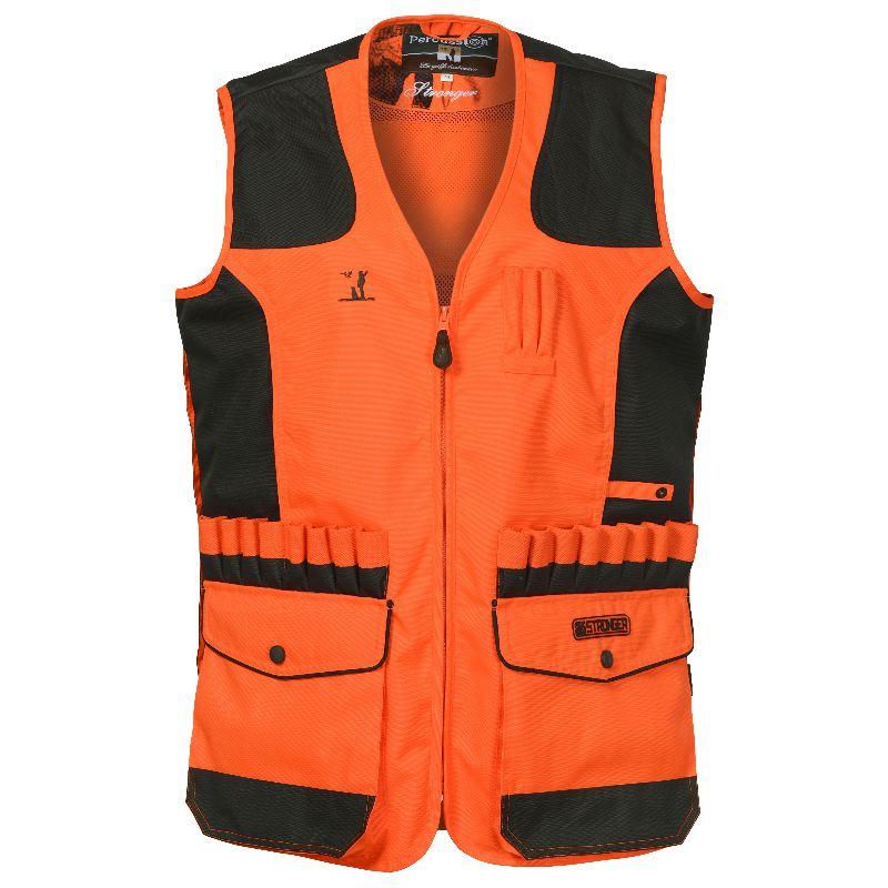 Gilet de chasse percussion stronger orange avec carnier dos