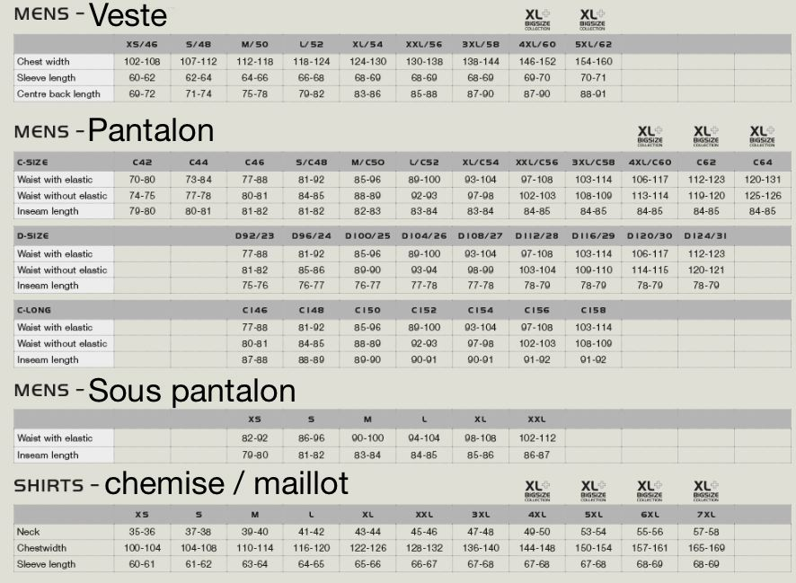 Guide de taille pinewood1