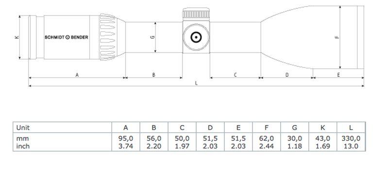 Schmidt bender zenith 2 5 10x56 dimensions