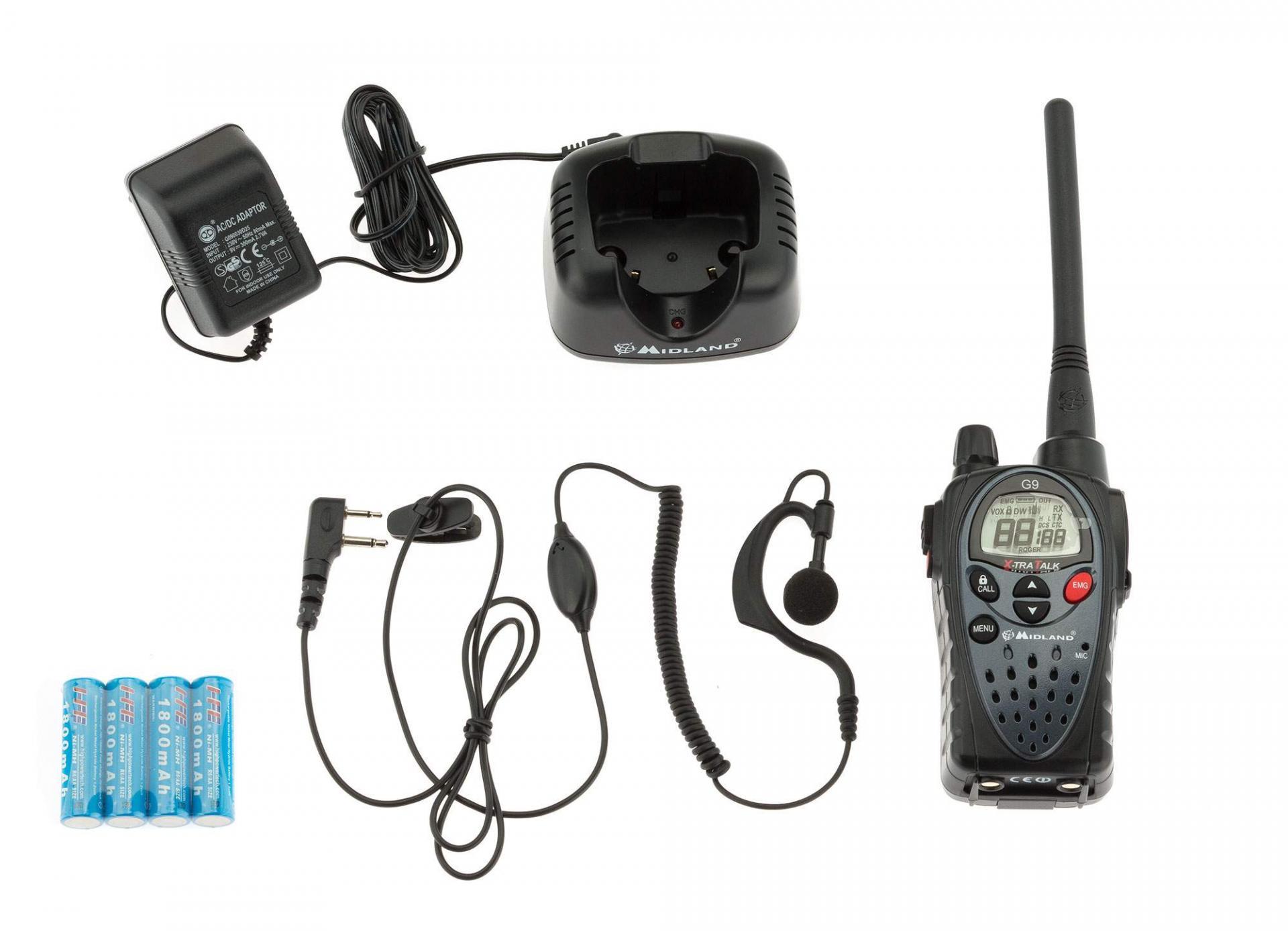 Talkie walkie midland g9 avec kit oreillette bi band double ptt