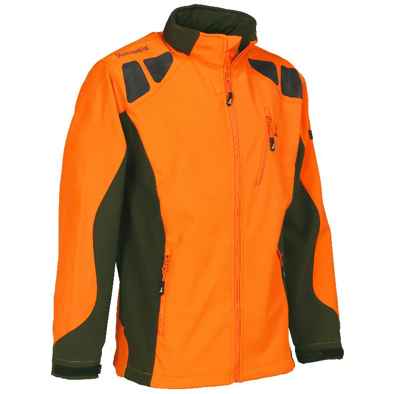 Veste chasse percussion softshell orange chasseur compagnie 1