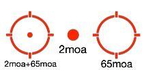 3 reticule holosun 2 moa circle dot 65moa