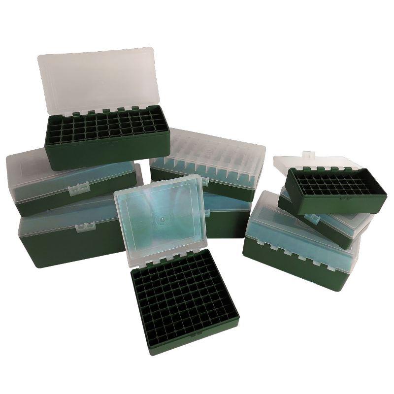 Boite a munitions 50 compartiments megaline verte et transparente