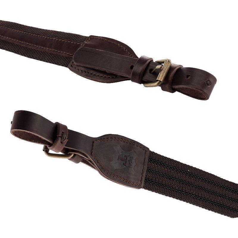 Bretelle fusil avec 2 boucles toile et cuir country sellerie2