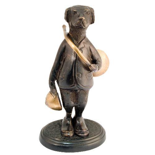 Bronze chien de chasse avec trompe de chasse haut de 18cm