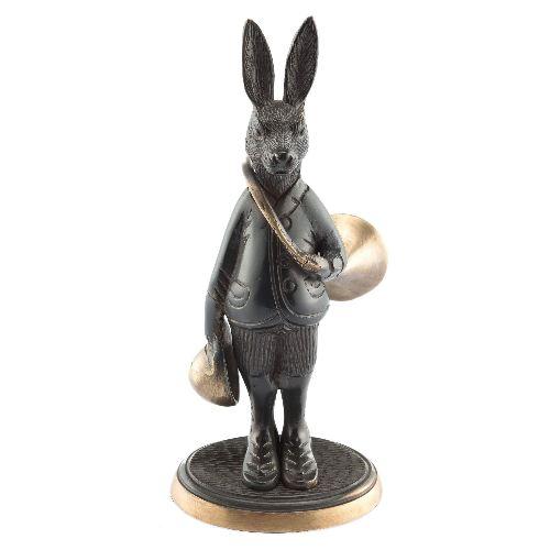 Bronze lie vre avec trompe de chasse haut de 18cm