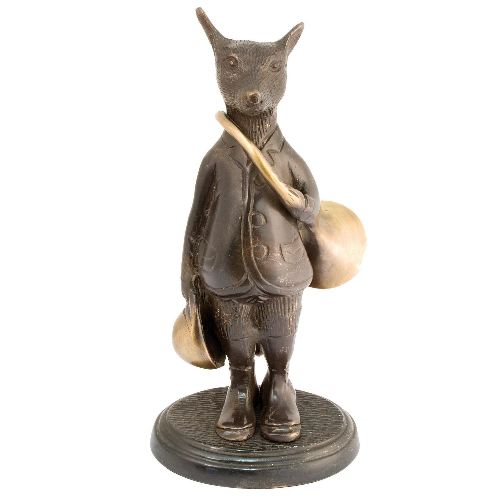 Bronze renard avec trompe de chasse haut de 18cm