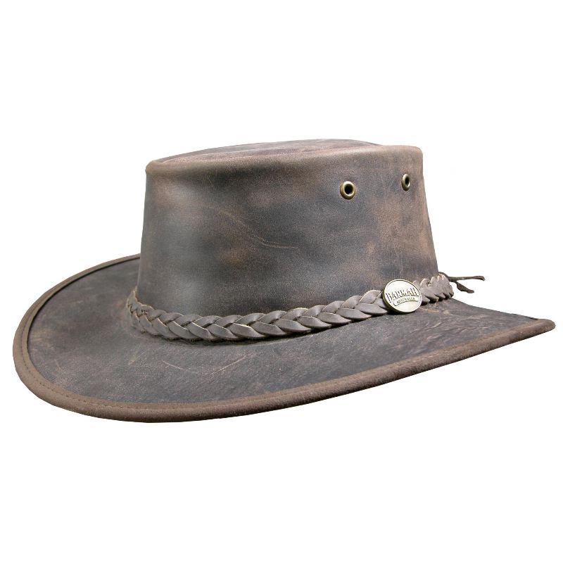 Chapeau australien barmah bronco marron en cuir de vache