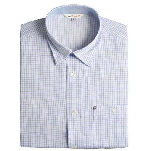 Chemise petits carreaux bleus sur fond blanc club interchasse arles