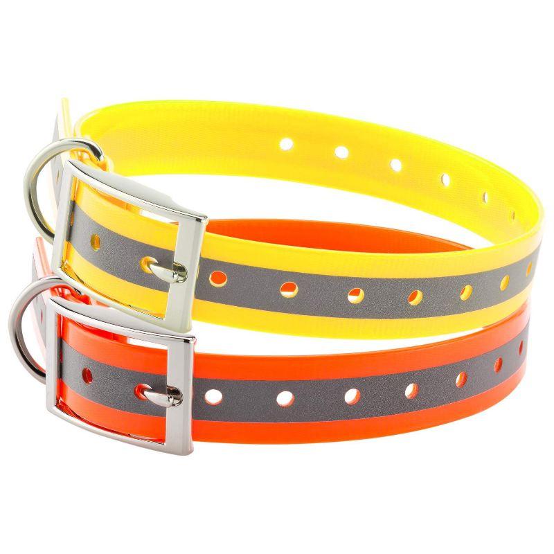 Collier chien polyure thane re fle chissant nuit jaune orange