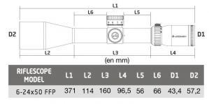 Dimensions athlon midas tac 6 24x50 re ticule aprs2 mrad ffp3
