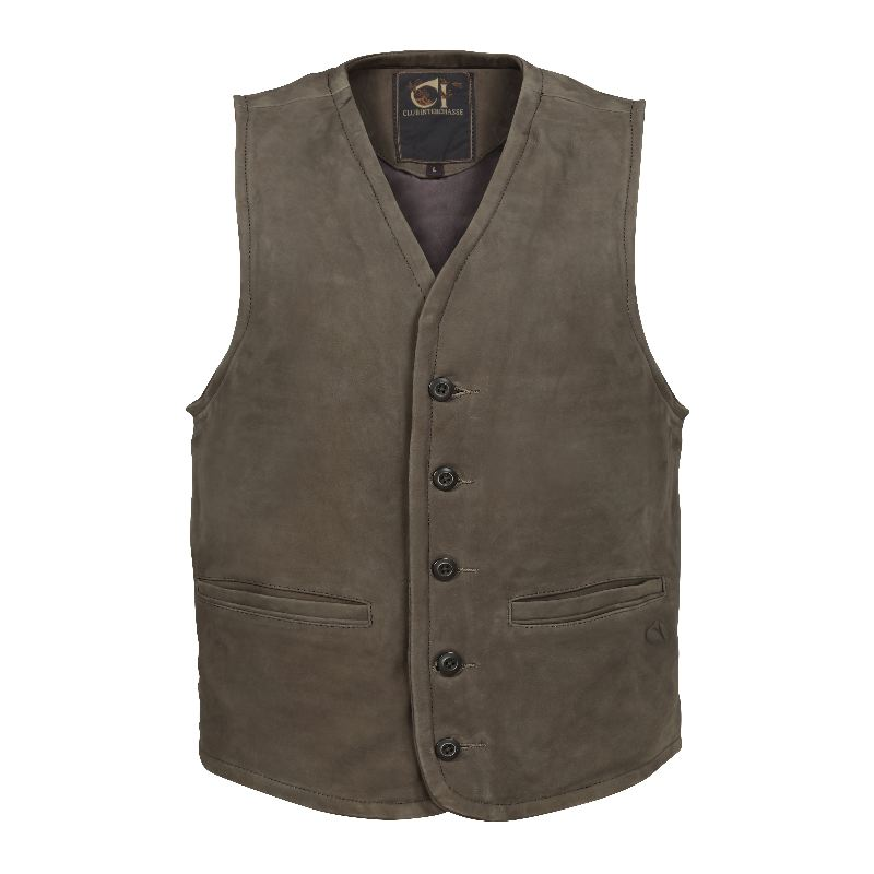 Gilet de chasse cuir de vache club interchasse brice marron
