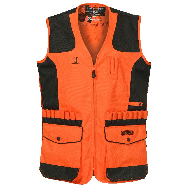 Gilet de chasse percussion stronger orange avec carnier dos