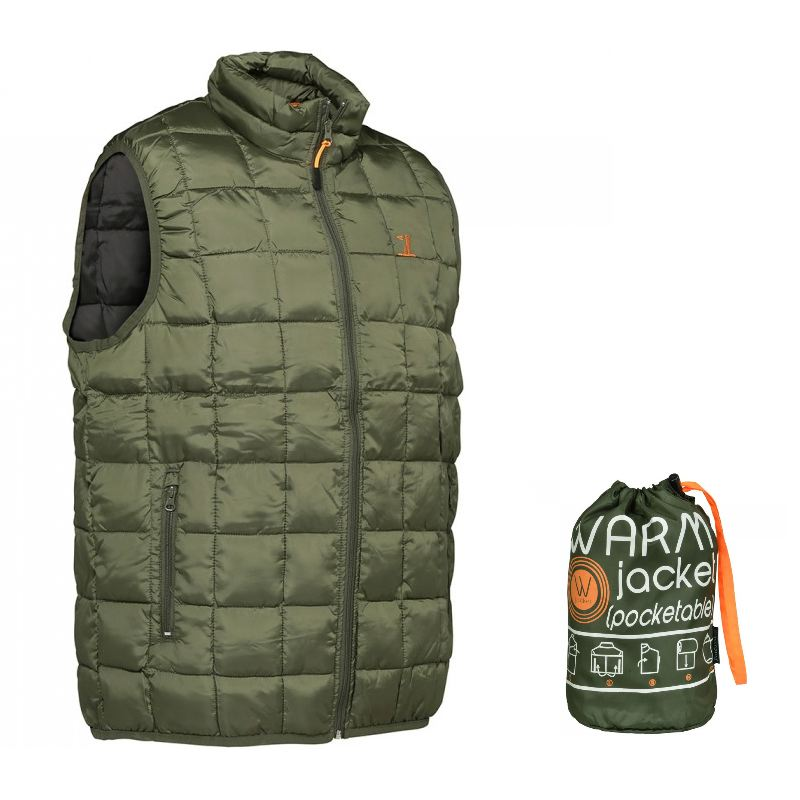 Gilet percussion warm type doudoune kaki sac de transport