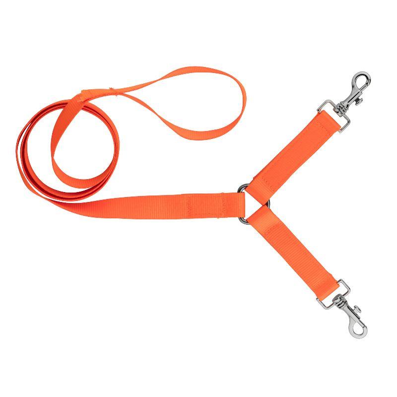 Laisse coupleur double pour promener 2 chiens country orange