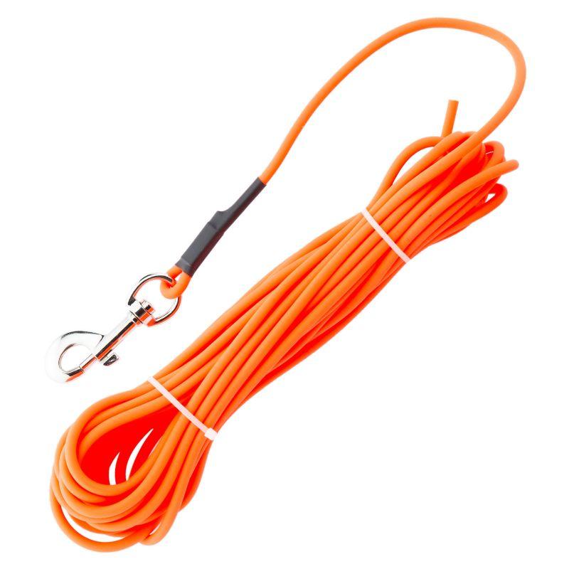 Laisse de dressage synthe tiques orange rondes 10 m chien
