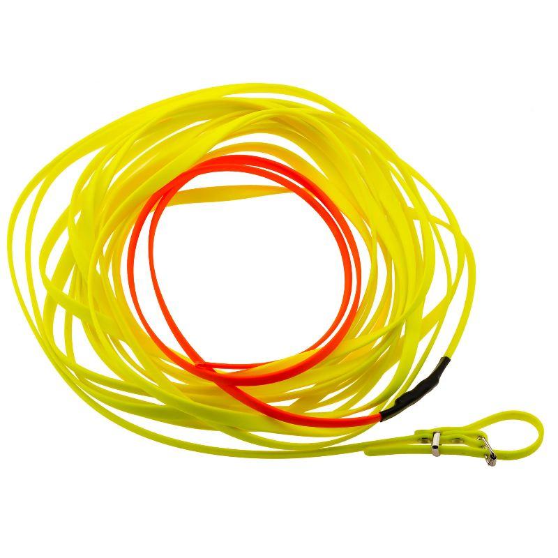 Longe pour chien 10m en biothane country orange fluo jaune
