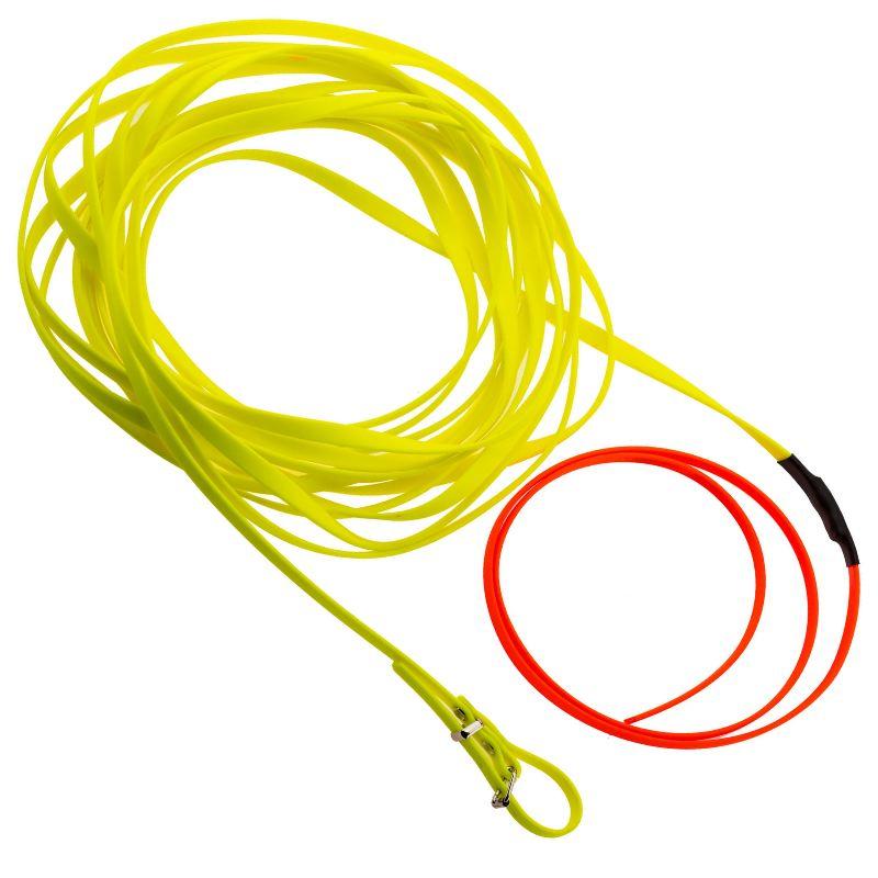 Longe pour chien 10m en biothane country orange fluo jaune1