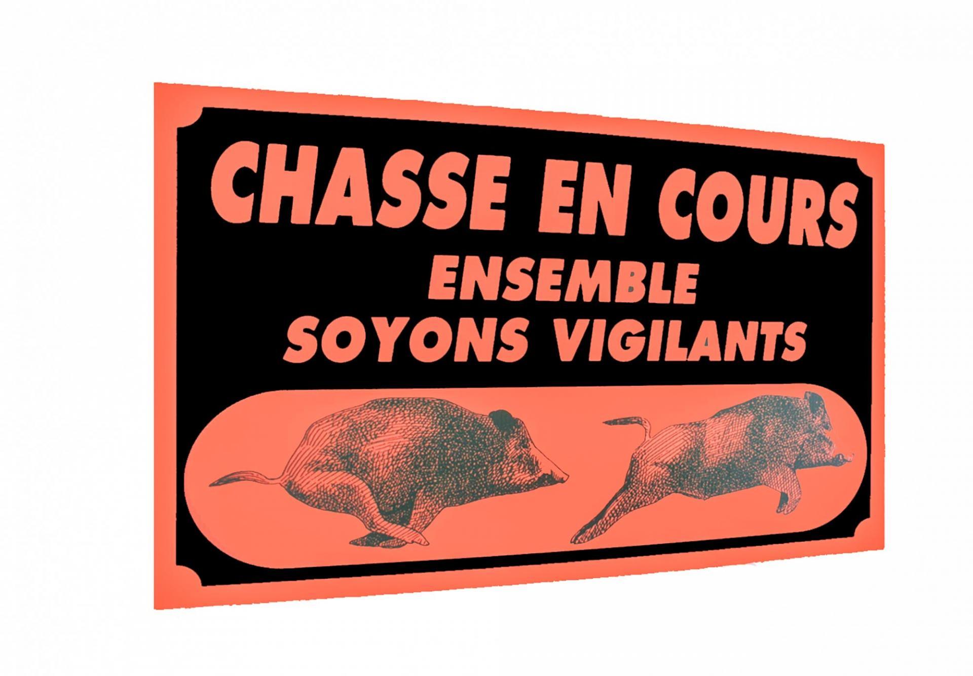 Panneau pancarte akilux attention chasse en cour