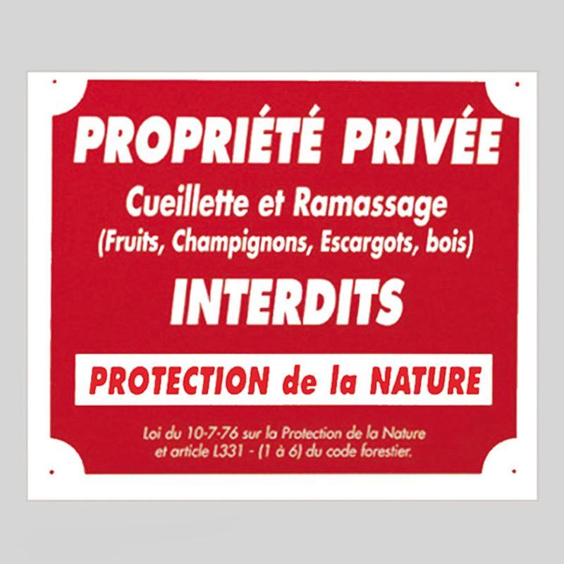 Panneau pancarte akilux cueillette interdite rouge
