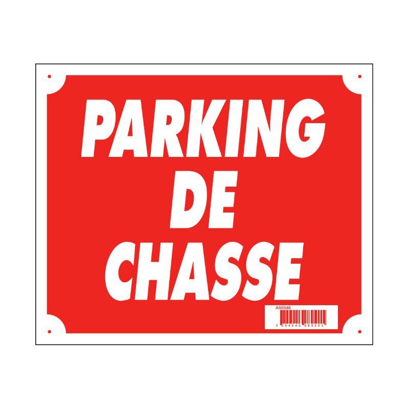 Panneau pancarte akilux parking de chasse 30x25 cm rouge