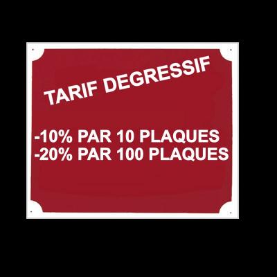 Plaque de signalisation chasse tarif de gressif 1