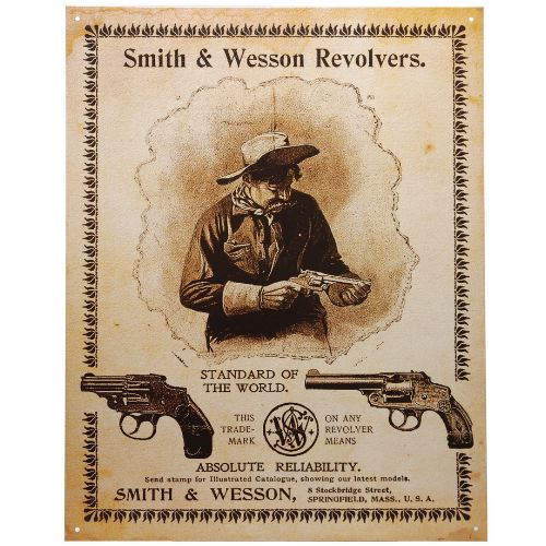Plaque me tal made in usa smith et wesson cowboy pour de coration