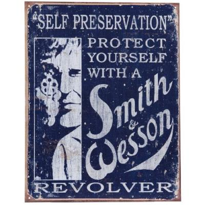 Plaque me tal made in usa smith et wesson pour de coration