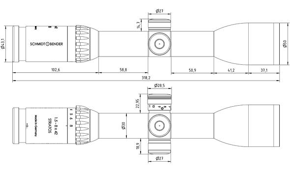 Schmidt bender 1 5 8x42 stratos dimensions