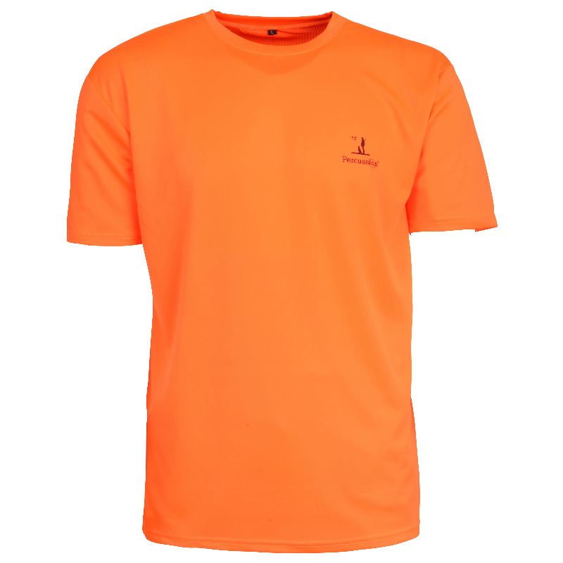 Tee shirt chasse percussion orange fluo chasseur compagnie