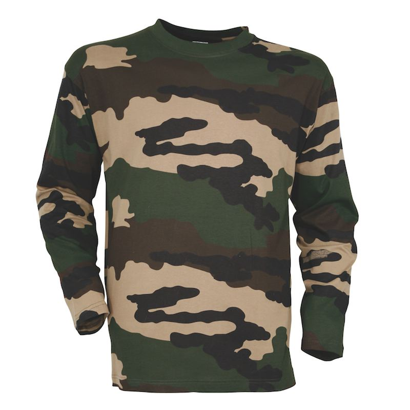 Tee shirt manches longues percussion camo ce militaire