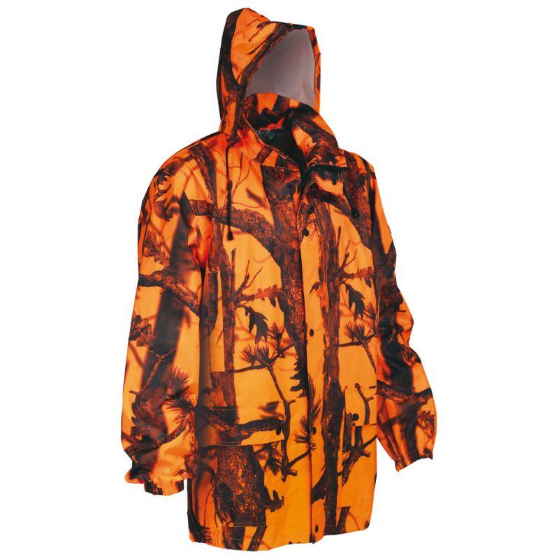 Veste de pluie camouflage orange pour chasse percussion