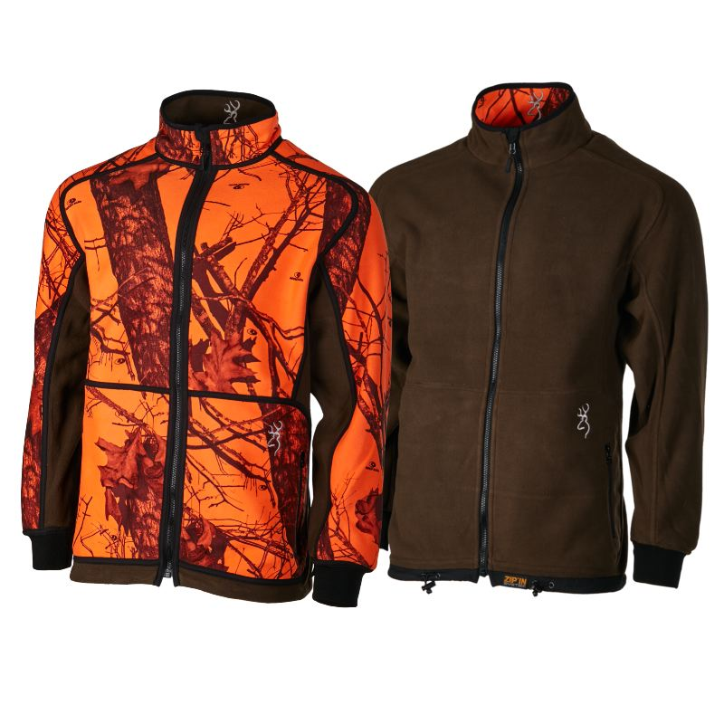 Veste polaire browning powerfleece re versible orange verte 1
