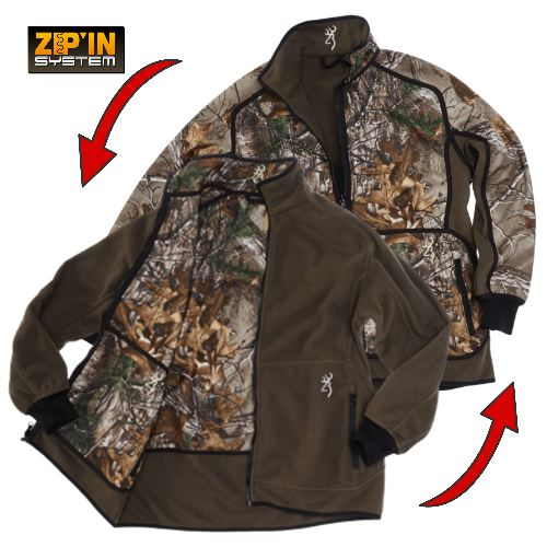 Veste polaire browning powerfleece re versible xtra vert camo