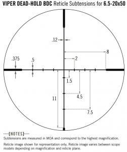 Vortex viper 6 5 20x50 ret dead hold bdc mesures
